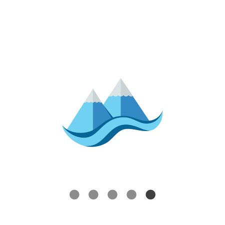 cliffs: Stylized cliffs and sea. Peaks, snow, foot. Mountain concept. Can be used for topics like geology, geography, business. Illustration
