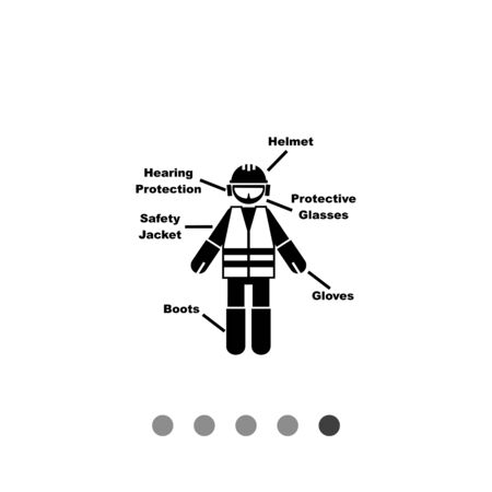 hearing protection: Illustration of construction worker with inscriptions. Construction site, safety, builder. Construction concept. Can be used for construction, safety, protective clothes Illustration