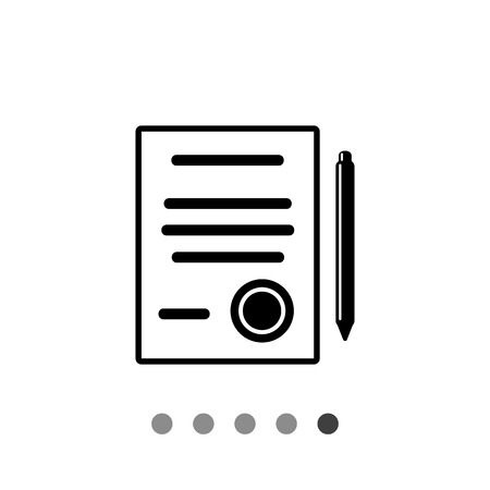 signing document: Document and pen. Contract, agreement, conclusion, signing, document, deal. Contract concept. Can be used for topics like business, negotiation, deal