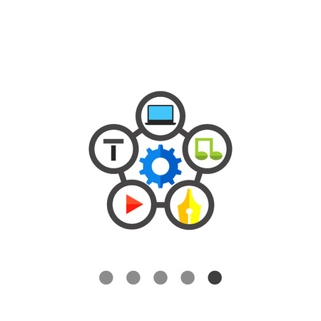 Multicolored vector icon of five cells with music, pen, play, laptop, t symbols around gear representing content management
