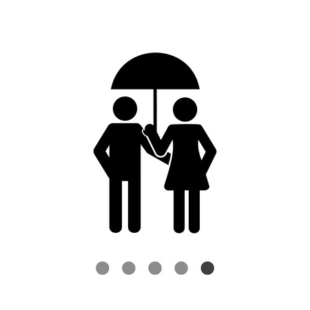 couple in rain: Illustration of couple under umbrella. Dating, relationship, rainy weather. Rain concept. Can be used for weather, care, relationship