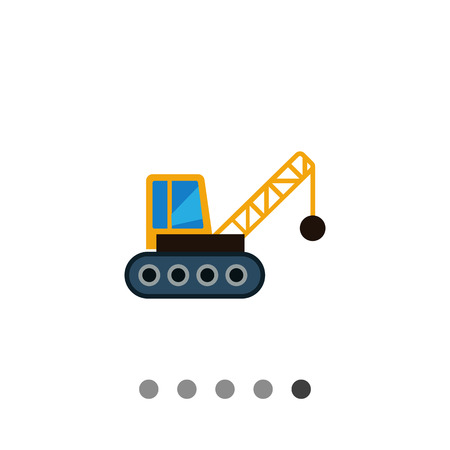Multicolored vector icon of crane with wrecking ball