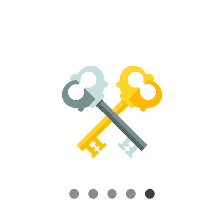 Two crossed keys. Protection, locking, ancient. Key concept. Can be used for topics like finance, technology, marketing.