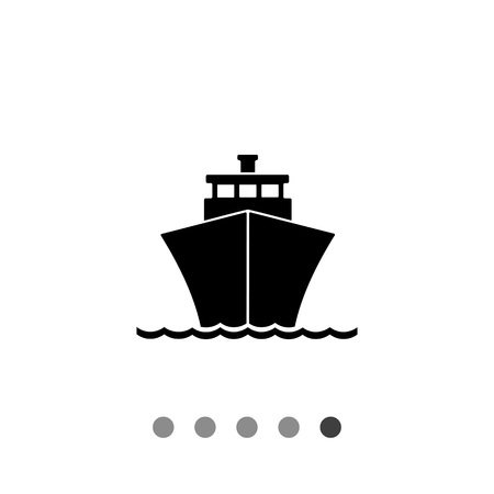 cruising: Monochrome vector icon of passenger cruise liner riding on waves