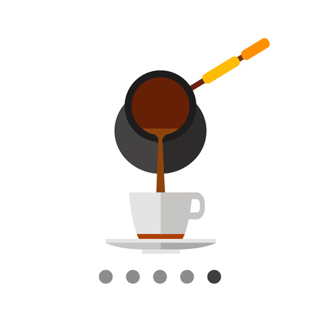 Icon of coffee being poured from Turkish coffee pot cezve into white cup with saucer