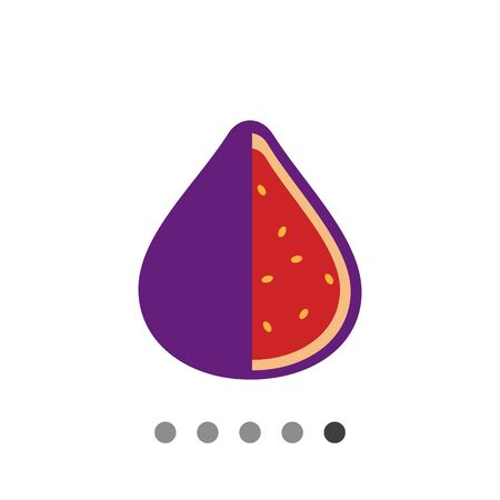 fig: Vector icon of cut fig fruit icon