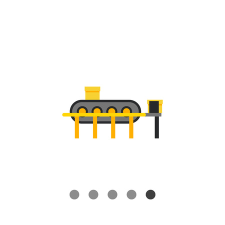 Multicolored vector icon of conveyor machine with boxes