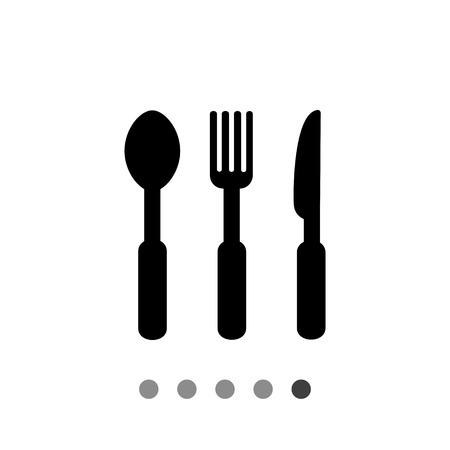 lunch room: Monochrome vector icon of spoon, fork and knife, representing cutlery Illustration