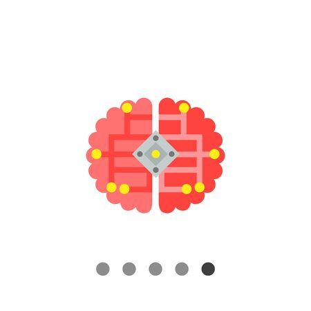 cybernetics: Multicolored vector icon of human brain with electric scheme representing cybernetics