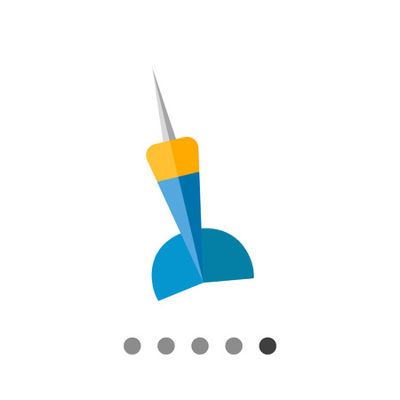 pointed arrows: Multicolored vector flat icon of blue and yellow dart