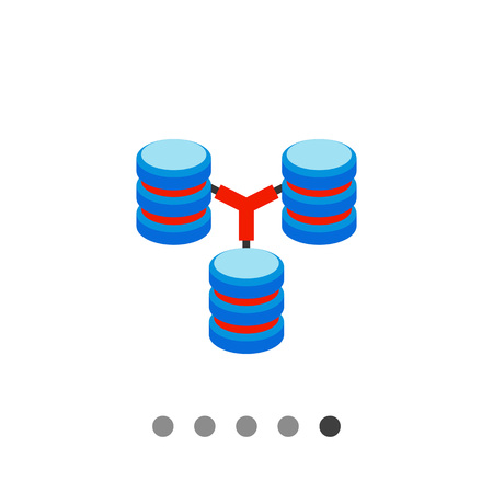 downloading content: Multicolored vector icon of three connected stacks of discs representing database concept