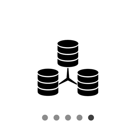 discs: Vector icon of three connected stacks of discs representing database concept
