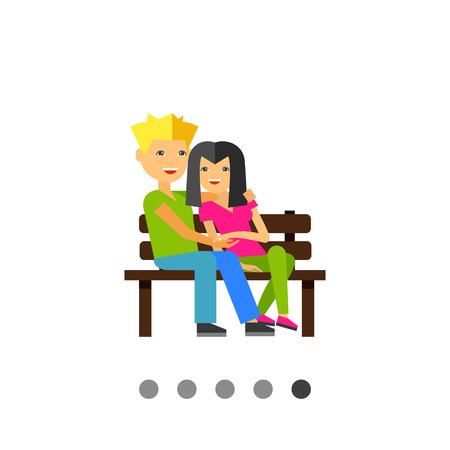nude outdoors: Multicolored vector icon of happy couple dating on bench