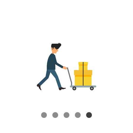 Multicolored vector icon of delivery man carrying two carton boxes on trolley