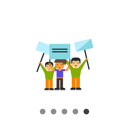 Demonstration flat icon. Multicolored vector illustration of group of people demonstrating