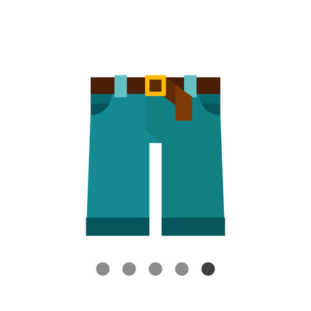 buckle: Multicolored vector icon of denim shorts with brown belt and buckle