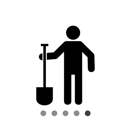 topics: Man holding spade. Soil, tool, farm. Digging concept. Can be used for topics like agriculture, construction, farming. Illustration