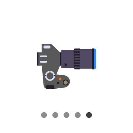 slr camera: Multicolored vector icon of digital SLR camera