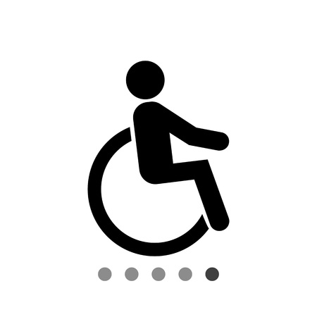 Disabled person flat icon. Vector illustration of disabled person in wheelchair