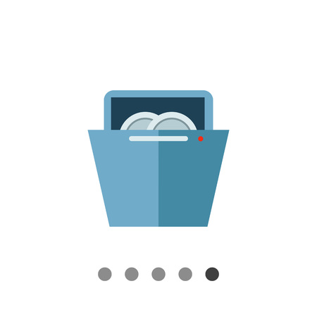 dishwasher: Multicolored vector icon of plates in dishwasher
