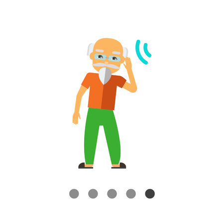 Multicolored flat icon of deaf old man with beard, wearing glasses Illustration