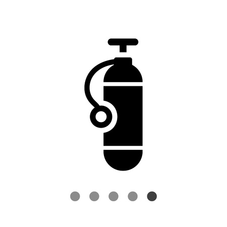 compressed air: Icon of single scuba diving cylinder silhouette Illustration