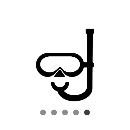 to spend the summer: Monochrome vector icon of diving mask with snorkel