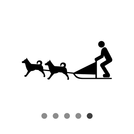 alaskan malamute: Vector icon of dogteam and sled with man ruling