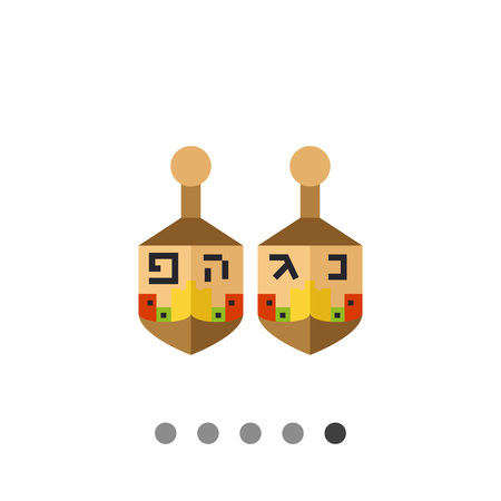 hebrew letters: Multicolored vector icon of two dreidels with Hebrew letters Illustration
