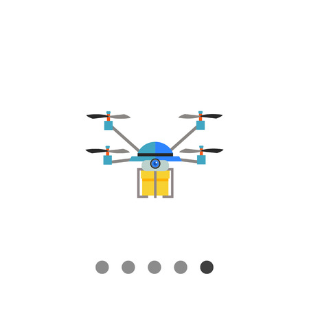 controlled: Multicolored flat icon of quadrocopter drone delivering yellow box