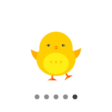 Icon of little cute yellow Easter baby chicken Illustration