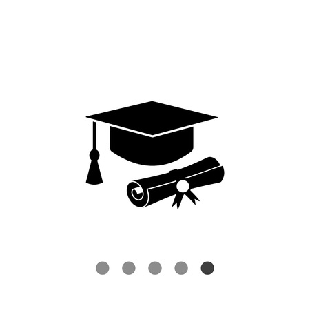 tassel: Monochrome vector icon of diploma roll and graduate hat with tassel representing education