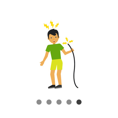 Multicolored vector icon of man getting electric shock from cable Illustration
