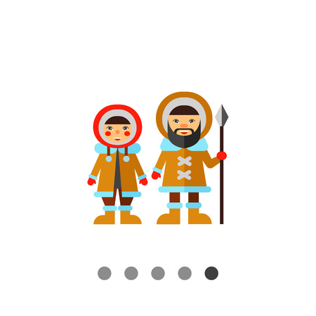 Multicolored vector icon of Eskimo man with spear and woman wearing fur coat with hood