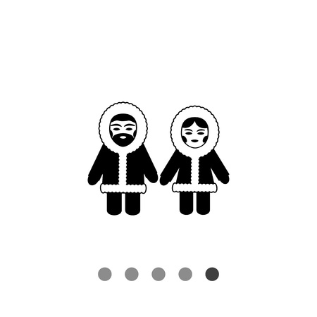 fur coat: Vector icon of Eskimo man and woman wearing fur coat with hood Illustration