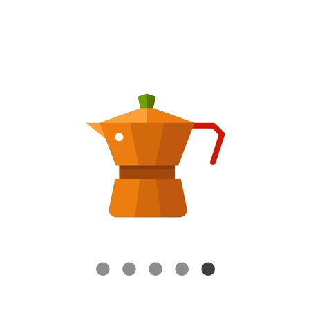 coffee maker: Multicolored vector icon of metal jar coffee maker Illustration
