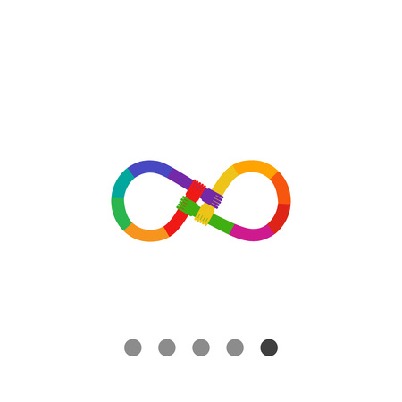 mani incrociate: Vector icon of rainbow-colored hands crossed in form of infinity sign