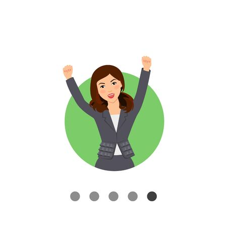 suit skirt: Female character, portrait of excited successful businesswoman wearing suit