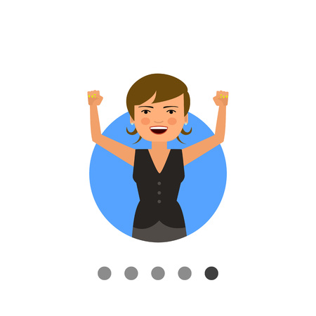 Female character, portrait of excited woman with her hands up