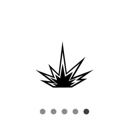 outburst: Monochrome vector icon of explosion, outburst of fire and light