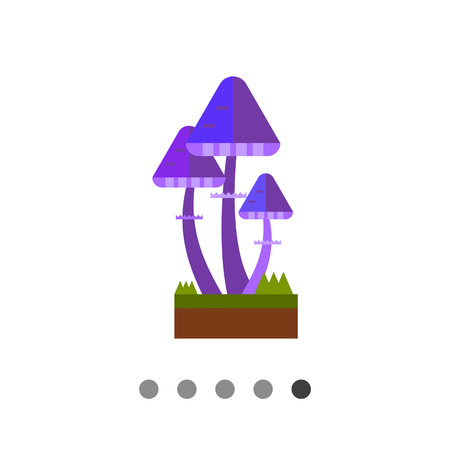 amanita: Multicolored vector icon of bright violet fairy mushrooms