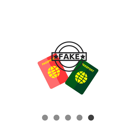 Multicolored flat icon of red and green passports and seal Fake