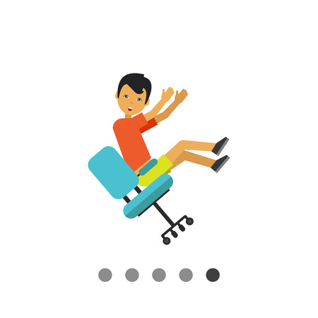 Multicolored vector icon of man falling from chair