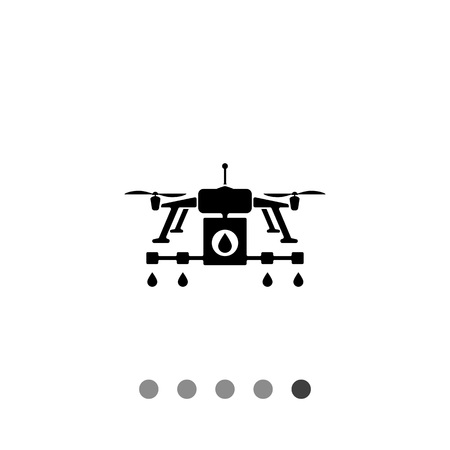 sprinkling: Farming drone flat icon. Vector illustration of drone with sprinkler system