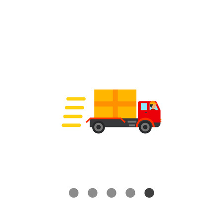 Truck with package going fast. Driving, speed, freight. Delivery concept. Can be used for topics like transport, logistics, business.