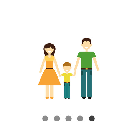 one child: Icon of traditional family consisting of man, woman and one child