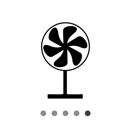 Monochrome vector simple icon of working fan on stand Illustration