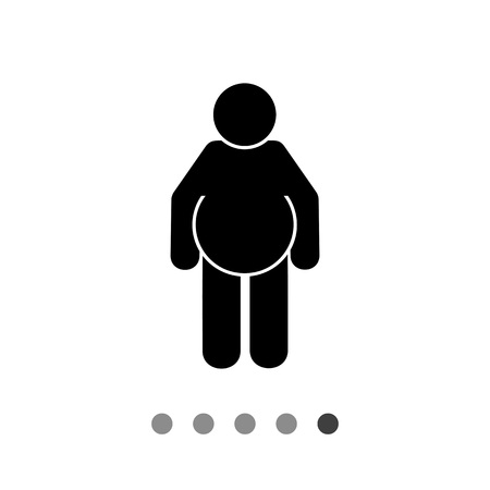 excess: Fat person. Excess, disease, beer. Obesity concept. Can be used for topics like health, dieting, medicine. Illustration