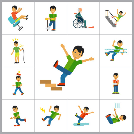 man falling: Accident Icon Set. Falling From Chair Falling Down Stairs Boy Slipping Stumbling Falling Boy With Broken Arm Man With Broken Leg Drowning Man Brick Falling On Man Electrical Shock Man In Wheelchair