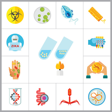 genome: Bacteria icons set with biohazard sign, genome and bacteria in Petri dish. Thirteen vector icons